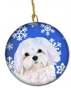 Caroline's Treasures SS4620-CO1 Maltese Winter Snowflakes Holiday Christmas Ceramic Ornament, Multicolor