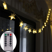 [UPGRADED VERSION] 4.9m 50 LED Christmas Star LED String Lights with Remote & Timer Battery Operated Fairy String Lights for Indoor & Outdoor Garden, Wedding Decoration
