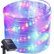 Solar Rope Lights,Oak Leaf 12m Waterproof 100 LED Outdoor Decoration String Lights with PVC Tube Cover,Black,Yellow, Green,Blue and Purple