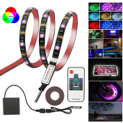 LED TV Backlight Lights Bias HDTV Lighting SMD 5050 60 RGB LEDs Waterproof Colour Changing Flexible Light Strip with RF Wireless Remote Controll +USB Battery Powered Box +USB Cable, 6.56ft/2M