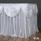 Efavormart White Satin Double Drape Table Skirt 6.4m