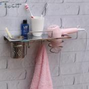 TAPCET Stainless Steel Chrome Bathroom Organiser Wall Mount Storge Organiser with Hair Dryer Holder Cylindrical Cup Towel Hooks Plug Holder for Bathroom Bedroom Washroom Barbershop