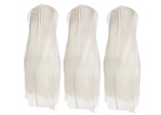 Bags for Less Wedding Gown Travel & Storage Garment Bag (3-Pack) – Soft, Breathable, Durable, Rip & Water Resistant Material – Extra Large Size With 10'' Gusset – Clear Vinyl Pouch