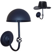 Queens Decorative Black Metal Wall Mounted Entryway Hat / Cap / Wig Hanger Display Rack