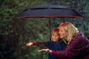 Folding Umbrella - 120cm Large Windproof Auto Open Close Double Canopy Travel Umbrella with 9 Ribs - Deep Purple