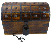 WellPackBox Large 12x8x8 Wooden Pirate Treasure Chest Box With Antique Style Lock And Skeleton Key