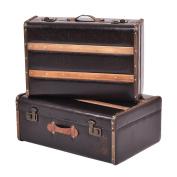 Goplus Set of 2 Vintage Suitcase, Old Style Suitcase, Retro Antique Luggage, Train Case, Wooden Leather Suitcase Storage Boxes