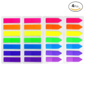 JUSLIN 4 Sets of 560 Neon Colour Page Marker Fluorescent Colour Index Label, Transparent Tabs Flags Stickers