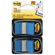 Post-it : Standard Tape Flags in Dispenser, Blue, 100 Flags per Dispenser -:- Sold as 1 PK