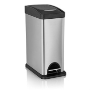 Fortune Candy Step Trash Can, Stainless Steel, Plastic Lid