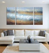 ARTLAND Hand-painted 80cm x 150cm 'Adverse Current'3-piece Gallery-wrapped Abstract Oil Painting on Canvas Wall Art Set