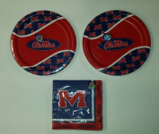 Ole Miss Rebels Party Bundle 23cm Plates (16) Lunch Napkins