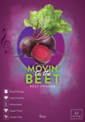 Movin' to the Beets, Superfood Beet Root Juice Powder, Antioxidant, Energy and Endurance Booster, Heart Health Support, 270ml, 63 Servings