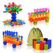 QuadPro Brain Flakes 570 Piece with 4 Set Wheels Plastic Discs Snowflake Building Blocks Set Kids Preschool Toys Educational Stem Toys for Boy and Girls