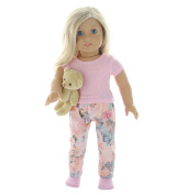 6 Pc. Pyjamas and Teddy Bear Doll Clothes Set with Accessories- fits American Girl Dolls, or 46cm Dolls- by PZAS Toys