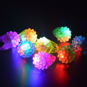 HS Novelty Flashing Led Bumpy Rings Light Up Jelly Ring, Party Finger Toys 24 Pack