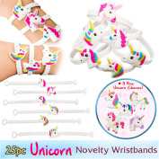 Magical Unicorn Party Novelty Toy Wristband for Children, 25 Mixed Design Assortment, w/5 FREE Unicorn Charms