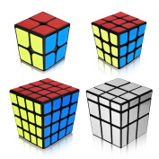 Speed Cube Puzzle Toy Mirror 2x2 3x3 4x4 Stickers 4PCS Cube Pack Fidget Twist Toys Games for Kids Children Adult Christmas Gift Black