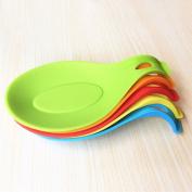 OUNONA 2pcs Silicone Non Stick Spoon Kitchen Utensil Spatula Holder