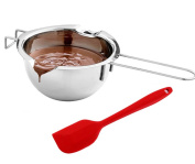 Fashionclubs Stainless Steel Universal Double Boiler Melting Pot For Chocolate Candy Butter Cheese Caramel With a Silicone Spatula Spoon