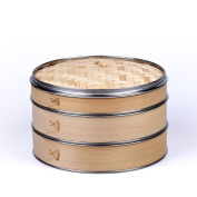 HUANGYIFU Handmade 6-30cm Wooden Steamers with Stainless Steel Banding, 2Tiers with 1 Lid, Chinese Steamer for Cooking