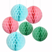 6PCS Mixed Pink Blue Mint Tissue Paper Honeycomb Ball Girl Birthday Baby Shower Wedding Party Nursery Mobile Hanging Decoration