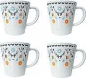 OLPRO Whitbourne Melamine Mugs (Pack of 4) - White, 7.5 x 9.5 cm