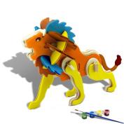 3D Wooden Puzzle, ESOOR Woodcraft 3D Puzzle Assemble and Paint DIY Toy Kit, Lion