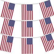 MEGA VALUE 3 x Packs 11m 33 Flags Quality USA America Flag Bunting Party Decoration Banner 4th July US Independence Day Bunting
