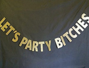 Veewon Hen Party Bunting 2.5m Gold Sparkly Glitter Banner Let's Party Bitches Bachelorette Party Decoration Supplies