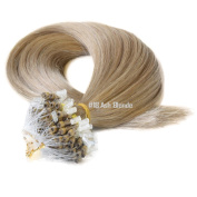 Micro Loop Ring Human Hair Extensions-#18 Ash Blonde-0.8g*20 strands-Remy Human Hair-Grade AAA
