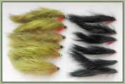 Zonker Trout Flies, 12 Pack Gold Head Black & Olive Zonkers, Mixed Size 8/10