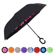 AmaGo Inverted Umbrella – Reverse Double Layer Long Umbrella, C-Shape Handle & Self-Stand to Spare Hands, Inside-Out Fold to Keep Cars & Drivers Dry, Carrying Bag for Easy Travelling