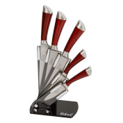 Evelyne Stainless Steel Kitchen Knife Set with Red Handle Hilt, 5 Knives and 1 Pivotable Swivel Holding Block with See-Thru Side