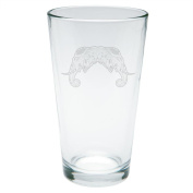 Tribal Mosaic Elephant Etched Pint Glass Clear Glass Standard One Size