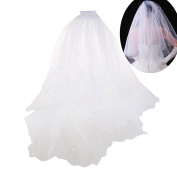 ULTNICE Double Layer Wedding Bridal Pearl Veil Mantilla with Comb 80CM