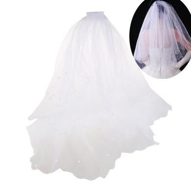 ULTNICE Double Layer Wedding Bridal Pearl Veil Mantilla with Comb 80CM (White)