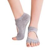 Toeless Yoga Pilates Barre Grip Socks Non Slip Non Skid Half-toe Grippy Dance Sport Ankle Socks