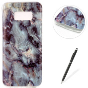 Smsung Galaxy S8 Marble Silicone Case,MAGQI Stone Pattern Colourful Painted Soft Ultra Thin TPU Bumper case [Free 2 In 1 Stylus] Slim Gel Skin Rubber Case Flexible Sheel Smooth Silicone Transparent Back Case Cover Jade Pattern Design Protective For Sms ..