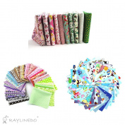 """RayLineDo 10Pc Different Pattern Multi Colour Cotton Poplin Fabric Fat Quarter Bundle 18"""" x 22"""" Patchwork Quilting Fabric With 30pc 1010cm Blue Series and 15pc 2025cm Mixed Squares Bundle Fabric"""