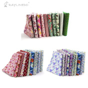 RayLineDo 30 Pcs Different Pattern Multi Colour 100% Cotton Poplin Fabric Fat Quarter Bundle 46cm x 60cm Patchwork Quilting Fabric Red Green Pink Blue and Purple Series