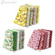RayLineDo 15 Pcs Different Pattern Multi Colour 100% Cotton Poplin Fabric Fat Quarter Bundle 46cm x 60cm Patchwork Quilting Fabric Red Green and Yellow Series