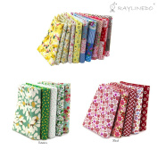RayLineDo 20 Pcs Different Pattern Multi Colour 100% Cotton Poplin Fabric Fat Quarter Bundle 46cm x 60cm Patchwork Quilting Fabric Red Green Yellow and Lattice Series