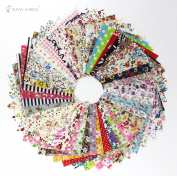 RayLineDo 50pcs 1010cm Fabric Patchwork Craft Cotton Material Batiks Mixed Squares Bundle