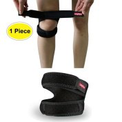 Lepfun P3000 Patella Dual Action Knee Strap,Adjustable Dual Strap Band Brace for Knee Support- Fit Running, Basketball and Arthritis...Black(1 Piece),28cm - 46cm