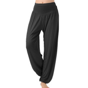 Fashion Baggy Soft Harem Yoga Pants Bloomer Trousers for Jogging Pilates Dancing Casual Wearing Black XL