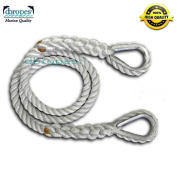 1.6cm X 5.5m Three Strand Mooring Line Pendant 100% Nylon Rope with 2 Thimbles . (Tensile Strength 4720kg.) Made in USA