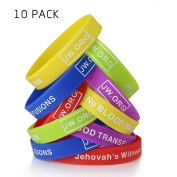 JW.org No Blood Medical Alert Flexible Silicone Wristband-10 pcs