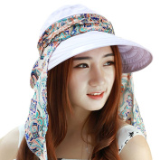 HugeStore Floppy Foldable Wide Brim Floral Chic Sun Hat Sun Visor with Neck Flap Protection for Women Ladies