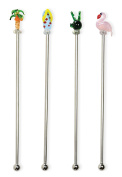 Boston International Stainless Steel & Glass Cocktail/Drink Stirrers, Set of 4, 20cm , Florida Time